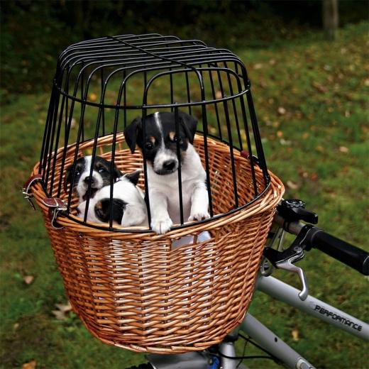 Fahrradkorb mit Gitter für Hunde und Katzen