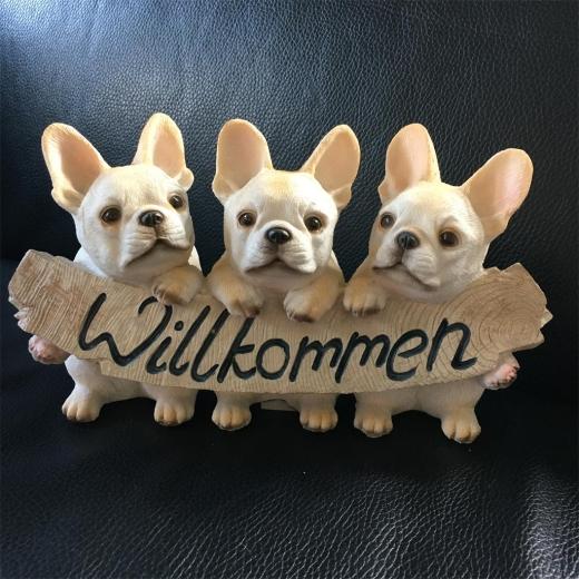 Willkommen 3 französische Bulldoggen Deko