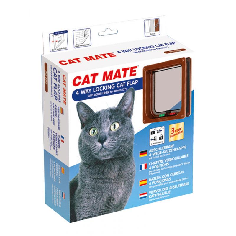 catmate 4 wege katzenklappe 235 braun 50mm tunnel cat mate katzent r neu ebay. Black Bedroom Furniture Sets. Home Design Ideas